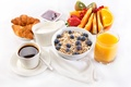 Picture cream, juice, coffee, oatmeal, breakfast, fruit, croissants, serving, Breakfast, jam