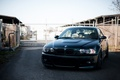 Picture the fence, bmw, BMW, black, black, the front, the sky, e46