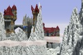 Picture allcaps, bridge, snow, window, roof, castle, tower, rocks, blocks, clouds, the sky, Minecraft, stones