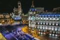 Picture crossroads, Metropolis Building, Spain, road, night city, Spain, machine, auto, building, Madrid, Madrid