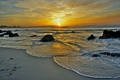 Picture sunrise, rocks, waves, sea, beach