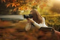 Picture autumn, girl, the sun, bench, branches, Park, the camera, brown hair, shooting, bokeh
