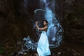 Picture girl, waterfall, dress, The Water Bearer