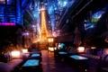 Picture lights, future, night, Eiffel tower, Paris, Akimov Mikhail AMM