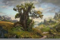 Picture road, clouds, landscape, mountains, lake, tree, the fence, home, village, art, Daniel Romanovsky