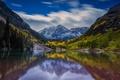 Picture lake, reflection, mountains, landscape, autumn, forest