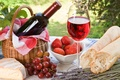 Picture bottle, glass, baton, wine, lavender, red, berries, cheese, bread, basket, grapes, strawberry