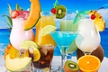 Picture kiwi, melon, cocktails, lime, coconut, orange, pineapple, drinks