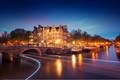Picture light, trees, bridge, the city, lights, river, boats, the evening, excerpt, lighting, Amsterdam, lights, channel, ...