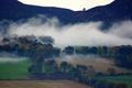 Picture mist, countryside scene, countryside, farmland, power line, mountains, fog, farm, morning, dawn