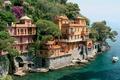 Picture sea, boat, forest., mountain, Villa