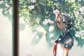 Picture flowers, schoolgirl, art, anime, rain, form, 5esrs, girl, glasses