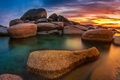 Picture mountains, Wallpaper from lolita777, boulders, sea, pond, the sky, stones, sunset