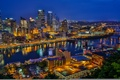 Picture river, building, bridges, night city, PA, skyscrapers, Pennsylvania, Pittsburgh, Pittsburgh, Golden Triangle, Golden triangle, the ...