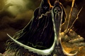 Picture skeleton, death, art, fantasy, night, skull, lantern, characters, braid, fantasy