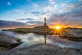 Picture sea, sunset, stones, rocks, lighthouse, Norway, Rogaland