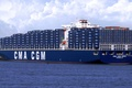 Picture Clouds, Sea, Pier, Blue, Board, The ship, Cargo, A container ship, CMA CGM, MEDEA