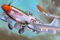 Picture WW2., radius, art, the plane, North American, fighter, American, action, P-51 Mustang, single, far