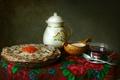 Picture sour cream, tea, shawl, pancakes, caviar, still life, texture, dishes