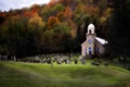 Picture Church, trees, graves, foliage, field, grass, autumn, forest, cemetery