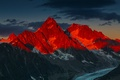 Picture Sunset, Mountains, French Alps, Alpenglow Over the Glacier d'Argentiere