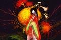 Picture girl, Figure, fan, kimono, chrysanthemum