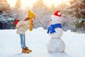 Picture Snow, Snowman, Winter, Jeans, Caps, scarf, mood, Gifts, Sweater, cap, Children, Girl, New year
