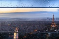 Picture glass, France, Paris, home, the city, bokeh, lights, the evening, tower, Eiffel, drops