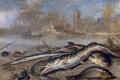 Picture picture, Jan van Kessel the Elder, crab, Fish in a Landscape, house, Church, river