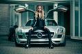 Picture gorgeous, girl, exotic car, Jason Harynuk, Heidi, Mercedes SLS, model