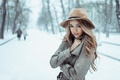 Picture cold, coat, snow, March, Russia, George Chernyadev, girl, hat