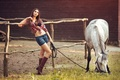 Picture white, grass, fence, girl, shorts, a blade of grass, boots, brown hair, cute, shirt, figure, ...