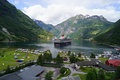 Picture ships, Geiranger Fjord, liners, mountains, the fjord, Bay, Norway, the city, sea