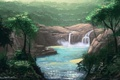 Picture summer, trees, flight, landscape, birds, nature, river, waterfall, painting