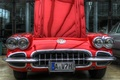 Picture red, red, hdr, lights, bumper, corvette, the hood, car, grille