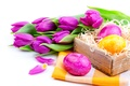Picture flowers, holiday, lilac, tulips, Easter, eggs, Easter, spring