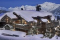 Picture France, stay, snow, mountains, Alps, winter, the hotel, the evening, house, Courchevel