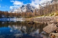 Picture stones, lake, the sky, snow, mountains, trees, clouds