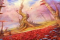 Picture landscape, mushrooms, art, fantasy world, cloudminedesign
