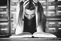 Picture girl, mood, hair, head, hands, book, black and white