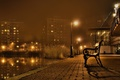 Picture city, lights, night, bench, promenade