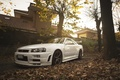 Picture white, nissan, turbo, white, wheels, skyline, japan, Nissan, jdm, tuning, gtr, front, r34, face, low, ...