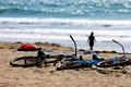 Picture sea, beach, stay, silhouette, bikes, halt