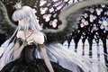 Picture black, dress, wings, cross, crown, angel