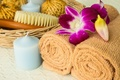 Picture bath, flowers, candle, brush, candle, relax, spa, bath, towel, Spa, towels