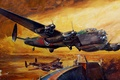 Picture war, operation, the side, figure, night, Lancaster, Dam Busters, dam