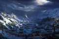 Picture China, the sun, snow, mountains, home, cloud