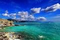 Picture sea, the sky, clouds, mountains, coast, Italy, sky, ocean, coast, Portofino, Liguria