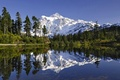 Picture forest, the sky, snow, trees, mountains, lake, reflection, spruce