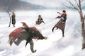 Picture snow, snowballs, winter, fan art, Harry Potter, guys, looters